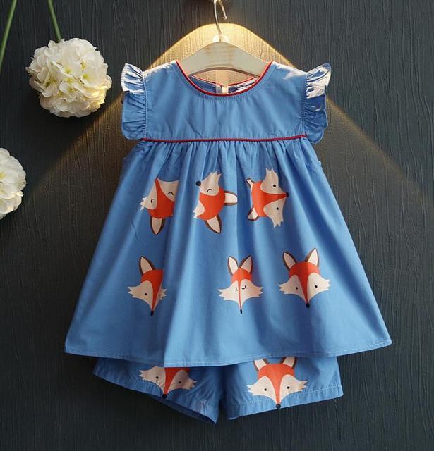 Новый Ребенок Летний костюм Девушки Маленькая лиса юбка рубашка + шорты Костюм Детей 2 шт. набор оптовая