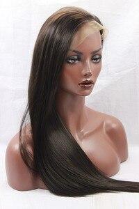 """Image 1 - Natural olhando marrom escuro 2 # natural em linha reta de alta qualidade 100% fibra do cabelo sintético peruca dianteira do laço laço suíço 3 4 """"fastshipping"""