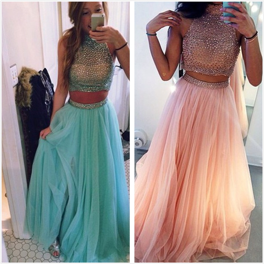 New Arrival Mint Green Organge High Neck Two Pieces Prom Dresses 2018 Off  Shoulder Crystals Backless Tulle Evening Party Gowns-in Prom Dresses from  Weddings ... 94802f4a6