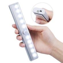Lâmpadas led de 6/10 leds 98/190mm, à bateria, luz de baixo de armário, sensor de movimento pir, armário, roupeiro, parede de cozinha luz noturna