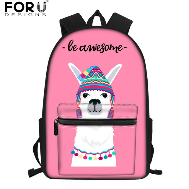 FORUDESIGNS Kawaii Alpaca Llama Pattern Pink School Bags Cute Kids Schoolbags Set Waterproof Travel Laptop Backpacks for Girls – HMF839Z58