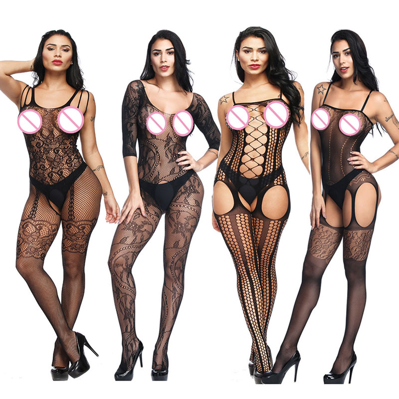 Sexy Costumes Body Suit Body Stockings Sex Erotic Open Crotch+Open Cup Teddy Lingerie Crotchless Baby Doll Feminino Porn