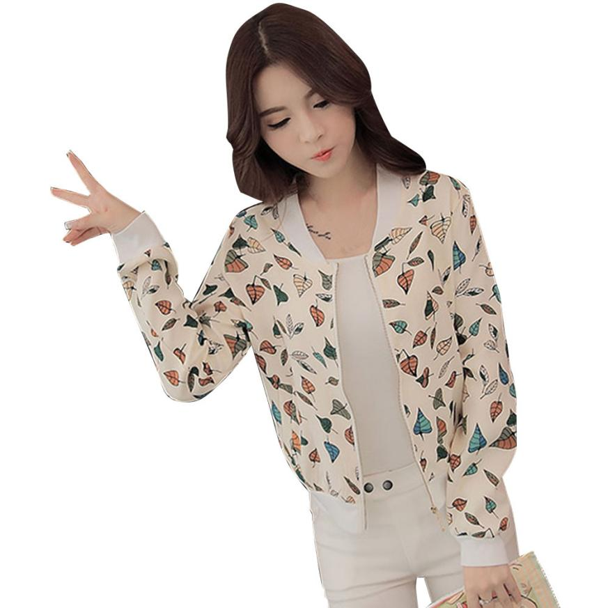 snowshine YLI Spring and Autumn 2017 Fashion Women Long Sleeve Floral Loose Zipper Blazer Suit Jacket Coat Outwear