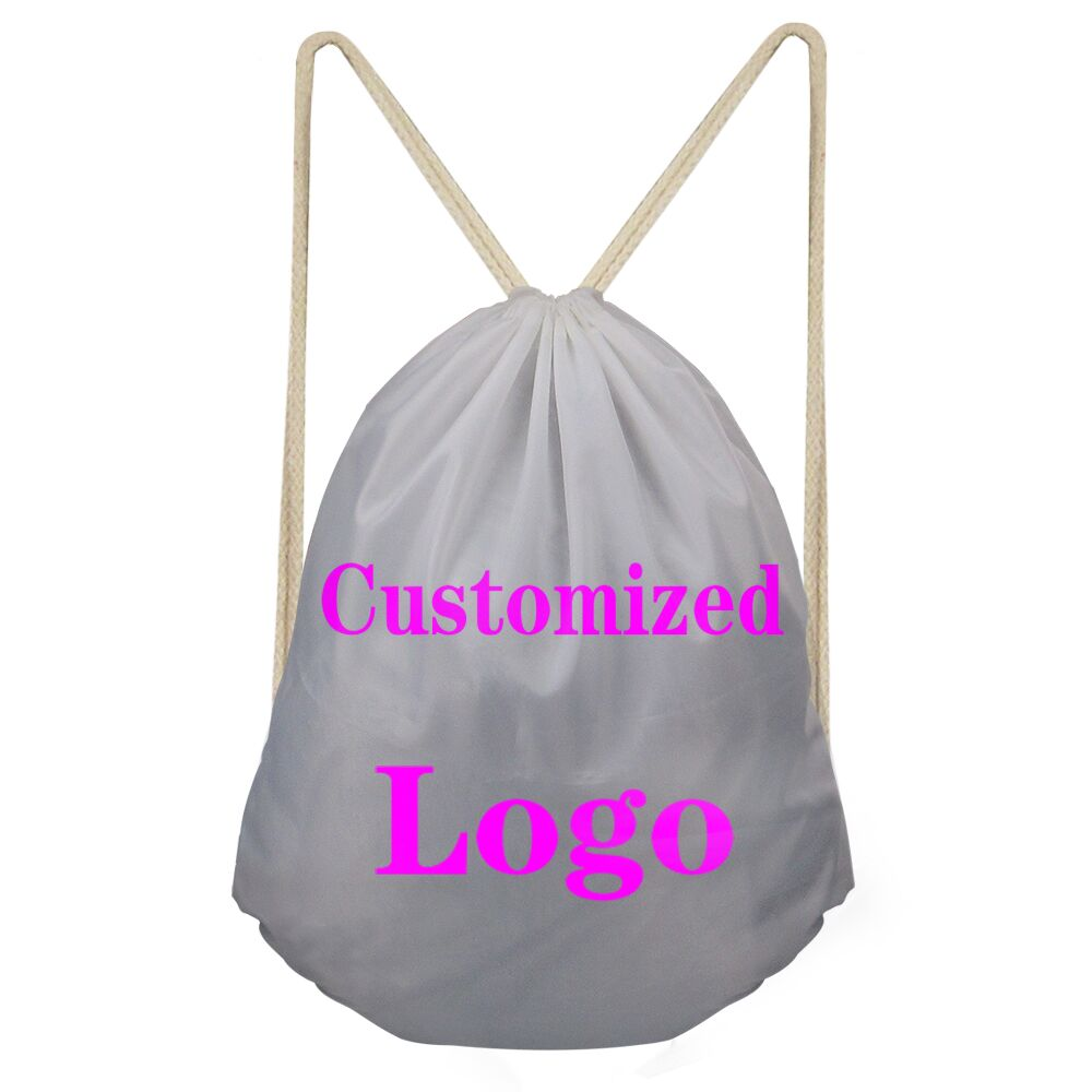 ELVISWORDS Customized Logo Design Brand Drawstring Bag for Men Women Backpack Boys Daypack Kids Travel Satchel