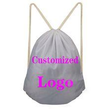 ELVISWORDS Customized Logo Design Brand Drawstring Bag for Men Women Backpack Boys Daypack Kids Travel Satchel Softback Custom