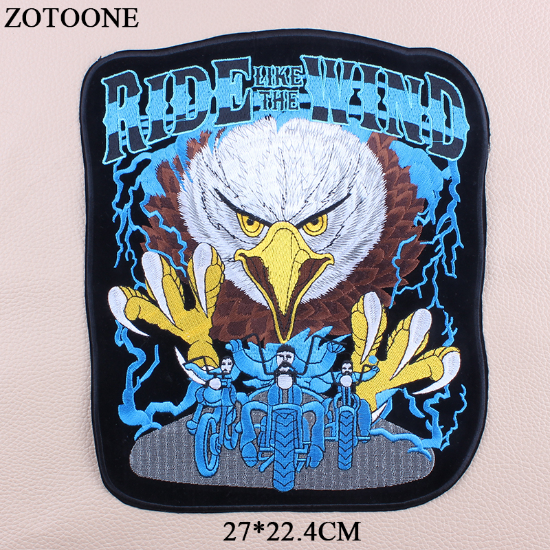 ZOTOONE Embroider Big Punk Eagle Patches Large Applications For Clothes Jacket Iron On Letter Motorcycle Patch Bike Applique in Patches from Home Garden