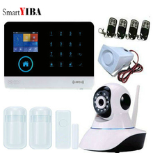SmartYIBA Wireless Wifi GSM IOS/Android APP Control LCD GSM SMS Home Burglar Alarm System with HD Indoor camera