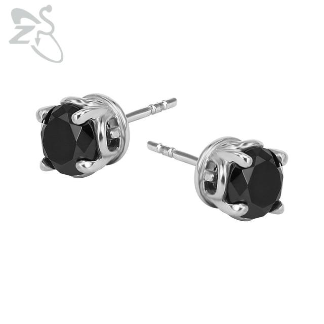 Small Black Stone Ear Stud Punk Cubic Zircon Earrings 316 Stainless Steel Helix Earring Piercing