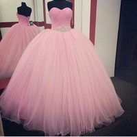 Pink Ball Gown Quinceanera Dresses 2016 Beaded Vestidos De 15 Anos Cheap Sweet 16 Dresses Debutante