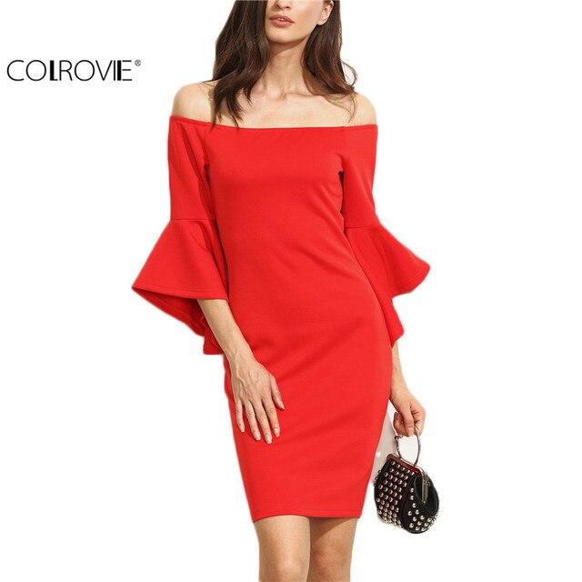 e7f91d6ba71 COLROVIE Red Women Dresses Ruffle Sleeve Off Shoulder Summer Dress Bodycon  Sheath Dress Ladies Club Wear Mini Dress
