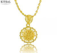 Newest Pure Gold Color Retro Hollow Flower Pendant With Water Wave Chain Necklaces Choker Wedding Decoration