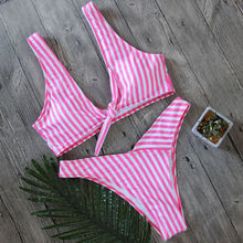 Women Bikini Bandage Striped Pink White