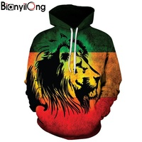 BIANYILONG Men Women Hoodies 3d Punk Lion Sweatshirts Funny Animal Pattern Pritned Pullover Autumn Winter Hooded