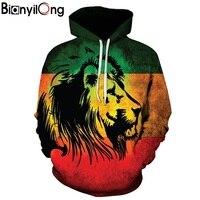 BIANYILONG Men Women Hoodies 3d Punk Lion Sweatshirts Funny Animal Pattern Pritned Pullover Autumn Winter Hooded