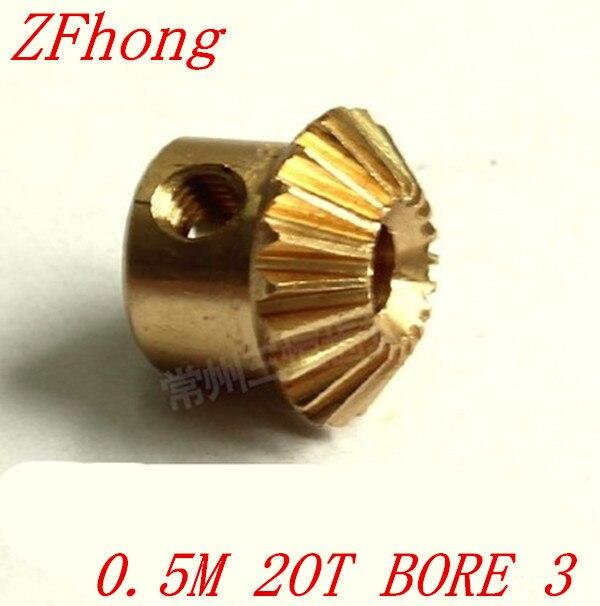 2 개 0.5m20t 20 치아 황동 베벨 기어 모듈 0.5 보어 3 미리메터
