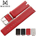 MAIKES New Hot Sales Genuine Calf Leather Watch Band Strap Brown Red Thin Soft watchbands Case For CK Calvin Klein K94231