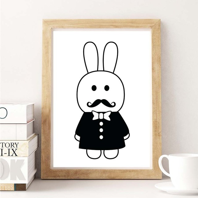 Modern Nordic Black White Cute Rabbit Canvas Painting Art Print ...