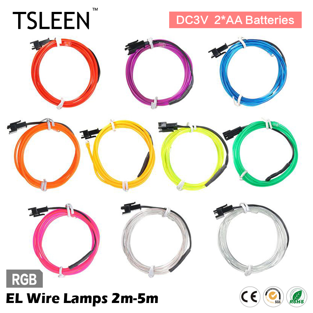 TSLEEN 2/3/5M Bendable EL Wire LED Lights Neon Battery Power Rope ...