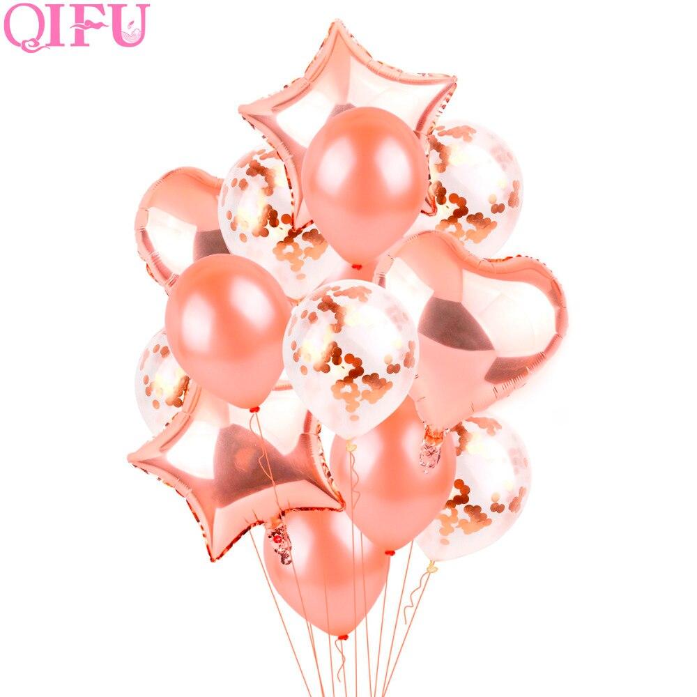 QIFU Rose Gold Star Heart Foil Balloons Air Wedding Ballon Helium Balloon Happy Birthday Party Decoration Kids Baloon Balon
