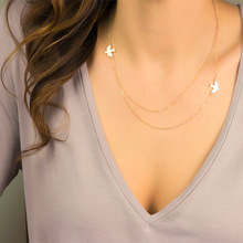 Fashion New Birds Pendant Clavicle Chain Necklace Trendy Double Layer Exquisite Party Statement Jewelry