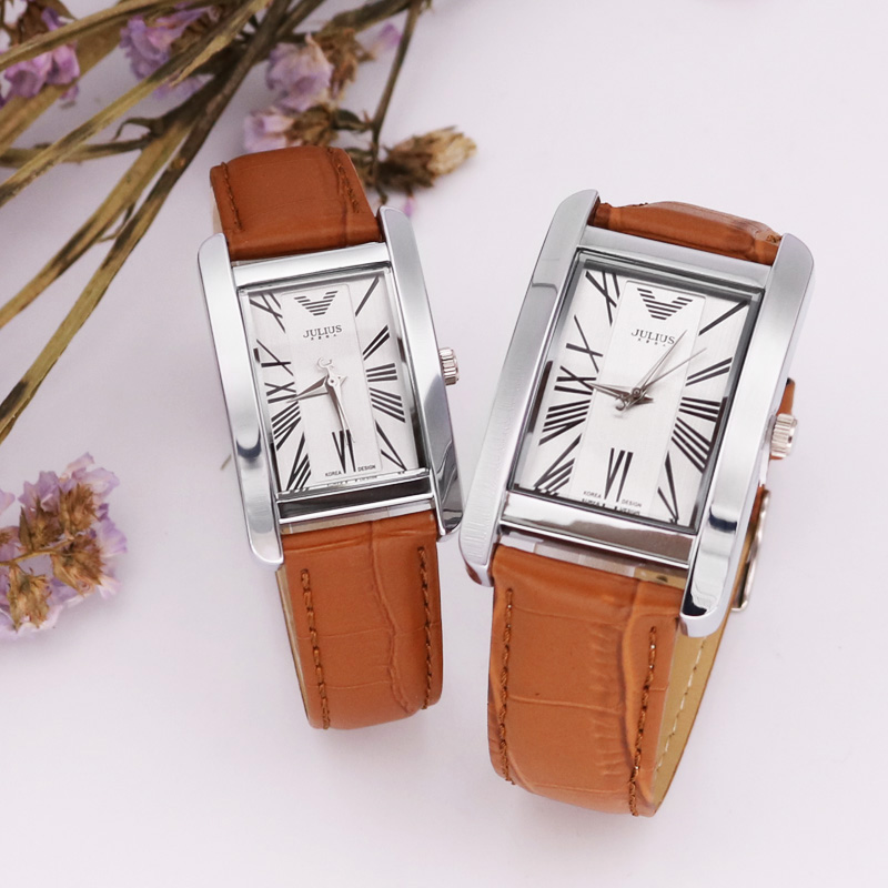 Classic Julius Couple Hours Men's Watch Women's Watch Japan Quartz Fine Fashion Leather Clock Lovers' Valentine Gift Box
