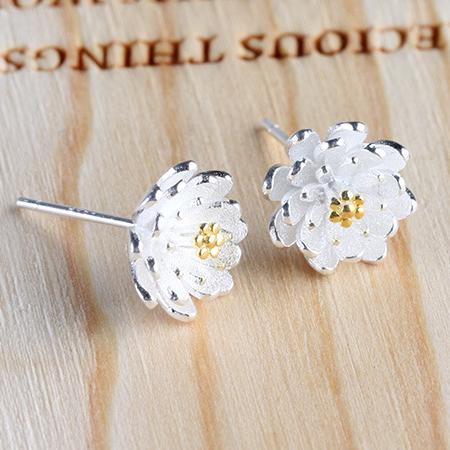 High Quality Silver Plated Stud Earrings Warm White Yellow Lotus Hypoallergenic Earrings Women's Fine Jewelry