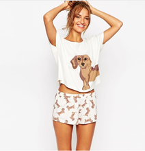 Women Pajama sets Cute Cartoon Print Dog 2 Pieces Set Design Crop Top Stretchy Tee and Shorts  Loose Tops Elastic Waist Casual dog print top and drawstring waist shorts pj set