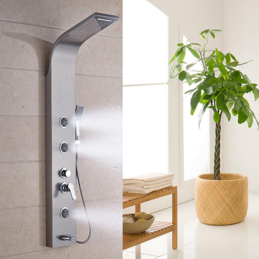 Ulgksd nikel shower panel dinding waterfall curah hujan shower kran pijat jet genggam tub shower kolom di shower kran dari perbaikan rumah