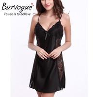Burvogue 2016 Summer Silk Nightwear Nightdress Sexy Lingerie Nightdress Sleepwear Nightgowns Lace Baby Dolls Sleepwear Babydolls