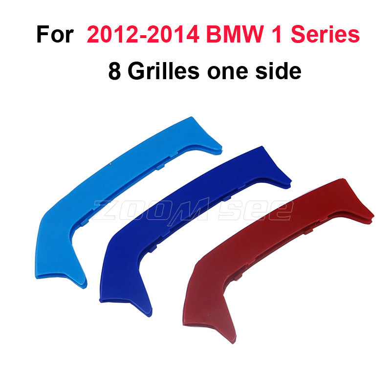 lowest price For 2012-2014 BMW 1 series F20 F21  8 Grills  Car Accessories Front Grille M Sport Stripes Grill Cover Cap Decoration Sticker