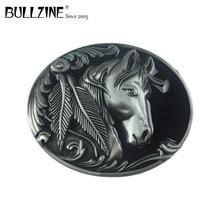 Bullzine hot sale western horse mens metal belt buckle with pewter finish FP 02209 suitable for 4cm width snap on belt