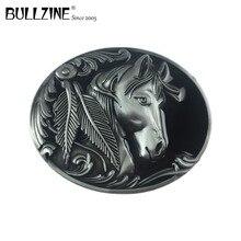 Bullzine sıcak satış batı at erkekler metal kemer tokası kalay kaplama FP 02209 için uygun 4 cm genişlik snap kemer