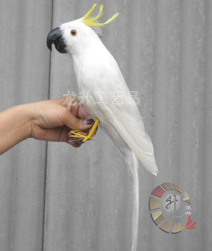 ФОТО about 43cm white feathers parrot Cockatoo bird ,Handmade model ,polyethylene& feathers prop ,home decoration toy Xmas gift w3959