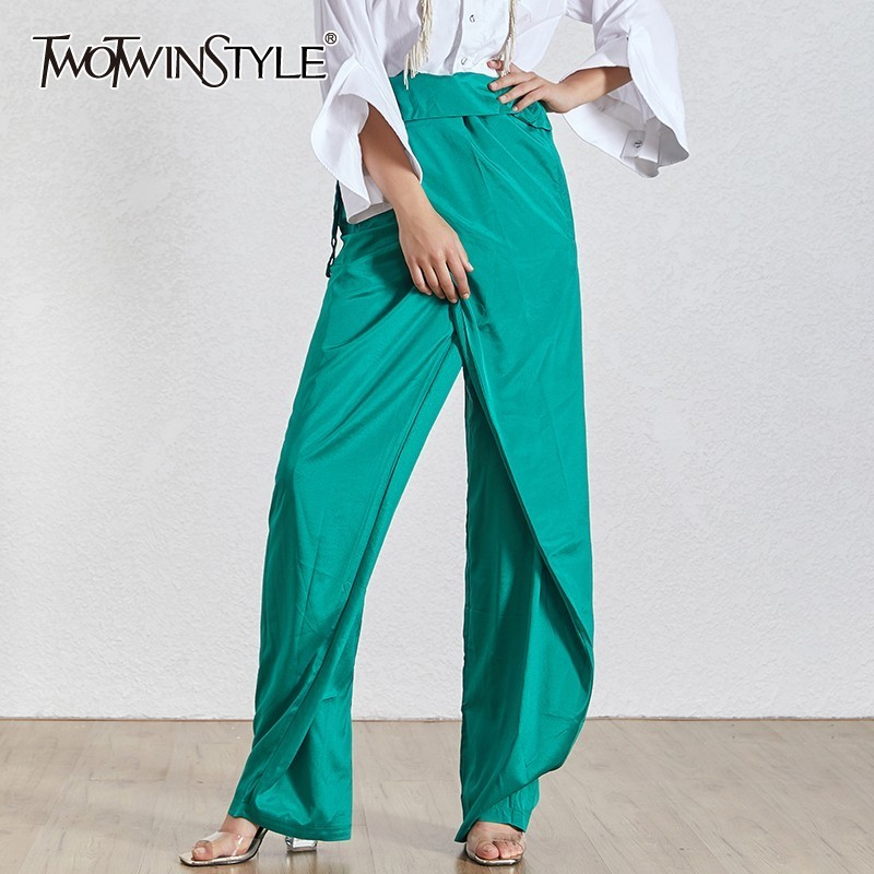 TWOTWINSTYLE Summer Solid Chiffon Trousers For Women High Waist Ruffles Drawstring Bandage Wide Leg Pants Female Fashion 2020