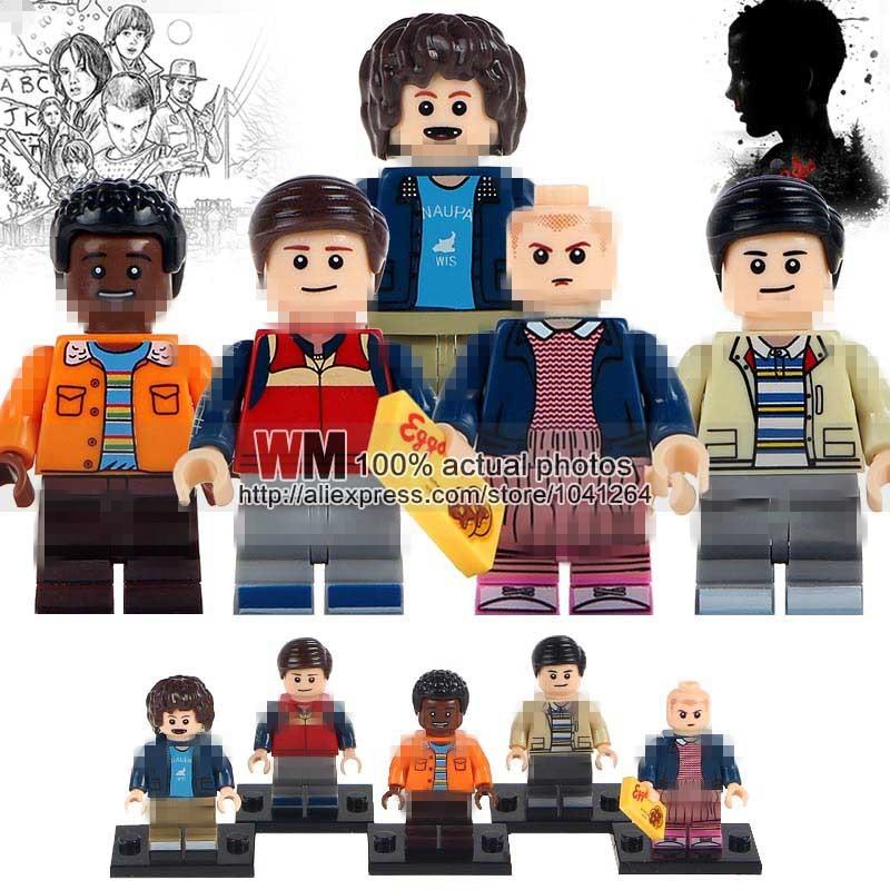 100pcs lot Stranger Things Dustin Will Eleven Lucas Super Heroes Building Blocks Bricks Education Toys For