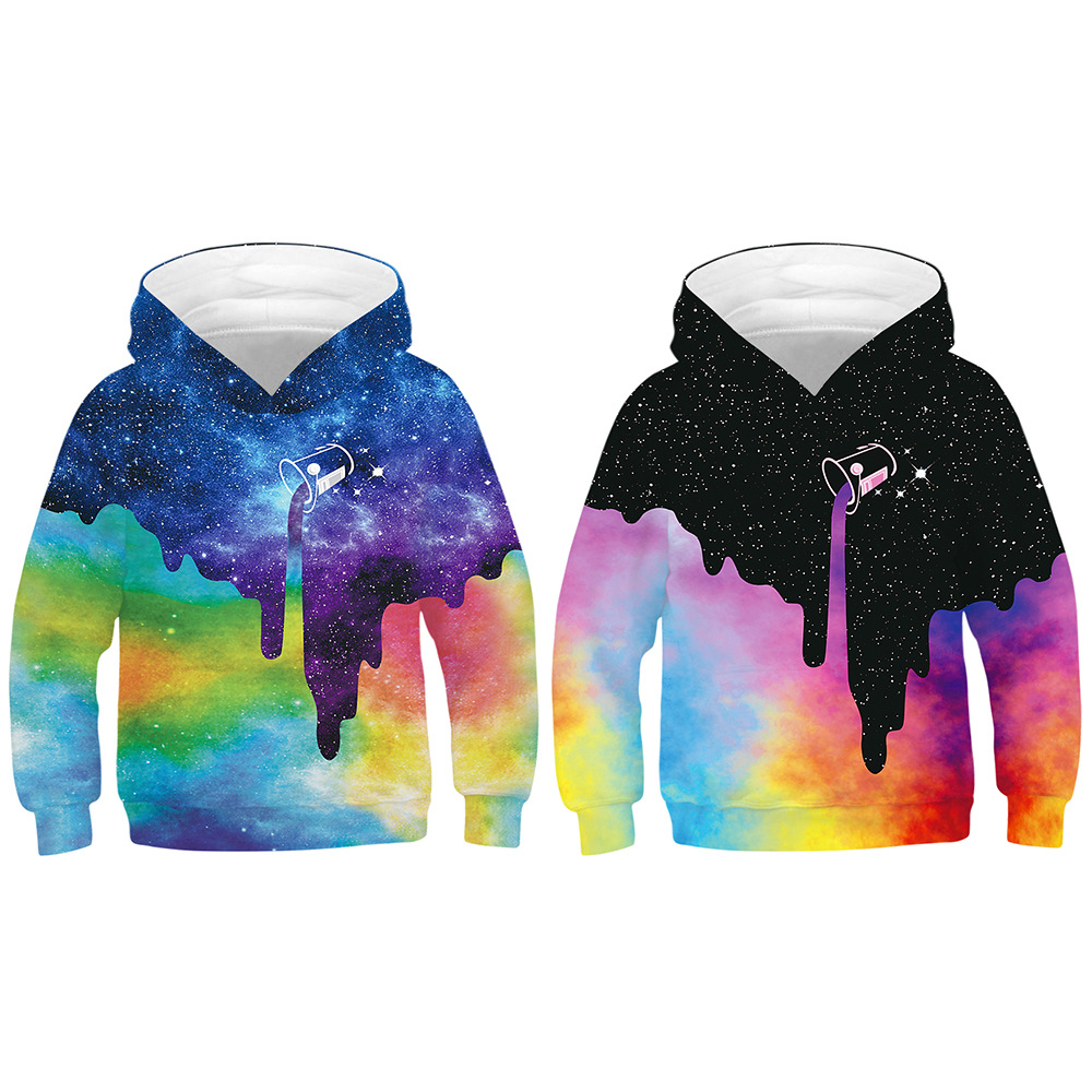 New 3D print starry sky casual sweatshirts children long sleeve tops outerwear clothes hooded Casual baseball uniform(China)