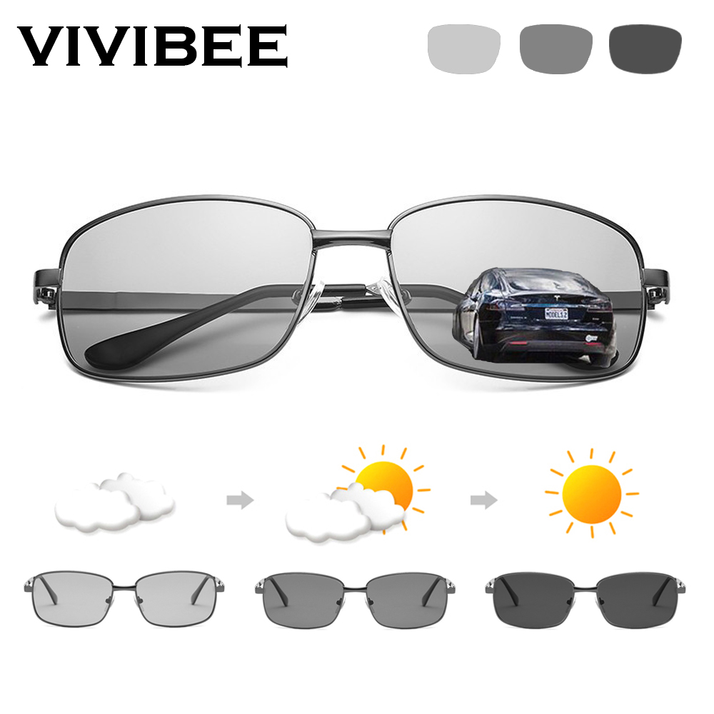 VIVIBEE Driving Selection Rectangle Photochromic Polarized Men Sunglasses Women Car Driving Safe Polarizing Male Sun Glasses