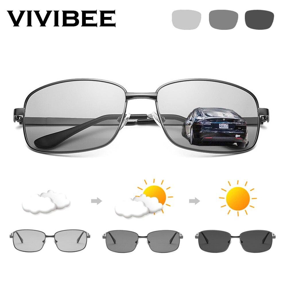 VIVIBEE sélection de conduite Rectangle photochromique polarisé hommes lunettes de soleil femmes voiture conduite sûre polarisant mâle lunettes de soleil