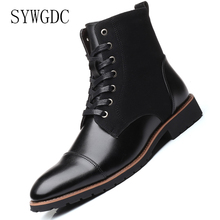 SYWGDC Fashion Men Pu Leather Boots High Quality Warm Snow Boots Pointed Toe Ankle Boots High Top Motorcycle Boots Big Size 3848