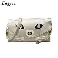 Engyee Nightclubs Clutches Women Leather Envelope Wallet Clutch Bag Korea Ladies Handbags For Girls Shopper Kitty Shoulder Bag