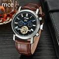 MCE Top brand Luxury Mens watches Automatic mechanical tourbillon Clock Leather Casual Calendar wristwatch Relojes hombre 2016