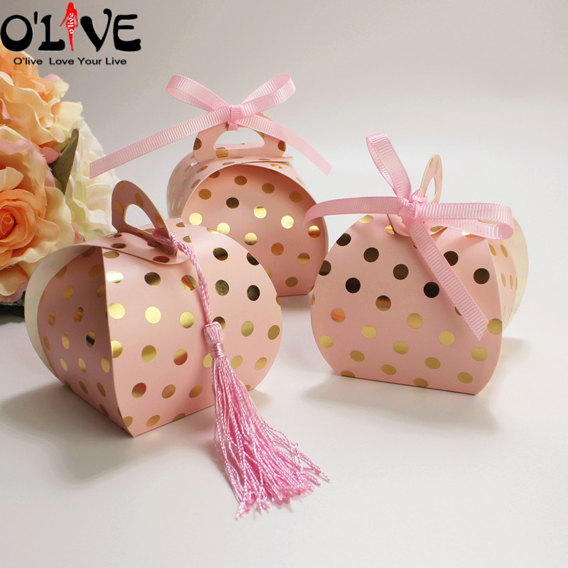 50 Pcs Polka Dot Gift Box Small Bag Cookie Candy Packaging Wedding Party Favors Paper Boxes Cardboard Bonbonniere Goodie Bags