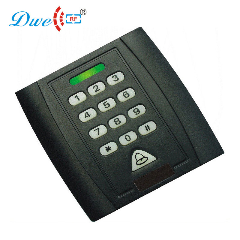 DWE CC RF access control reader rfid low frequency 125khz EM-ID wiegand 26 card reader with door bell waterproof door access control reader wiegand 26 rfid 125khz id card reader em 4100 black 101a