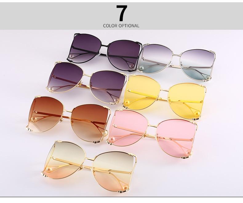 7b4a85046ac0e っFU E Nouvelle Mode lunettes de Soleil Femmes Grand Cadre En Métal ...