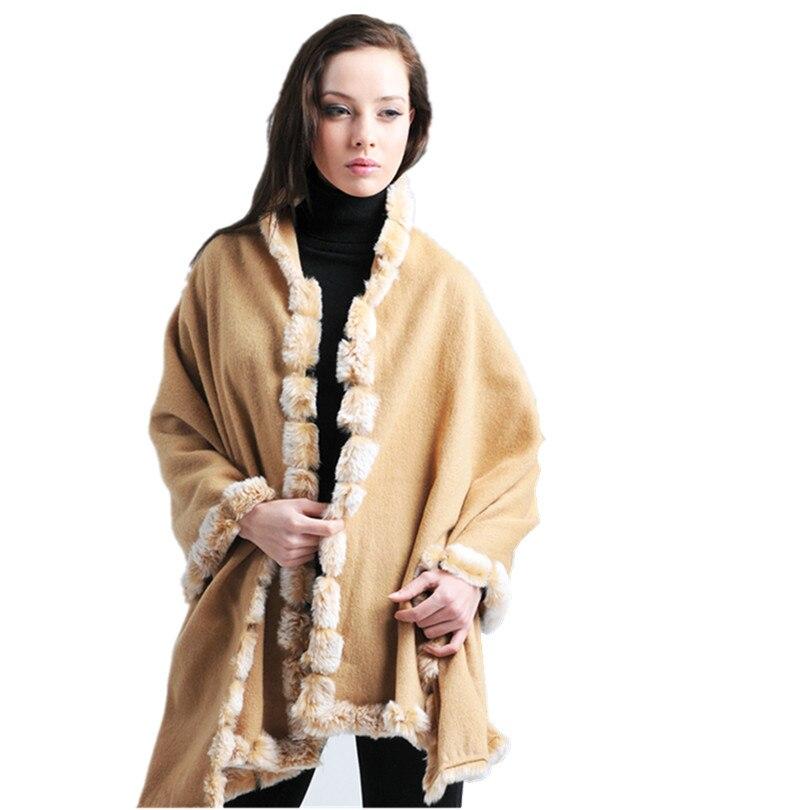 Clever Wolle Cape Mit Natürliche Rex Kaninchen Fell, Mode Herbst Winter Warme Grau Gelb Luxus Frauen Schals F149