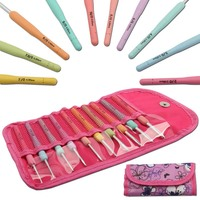 10 Pieces Set Crochet Hooks Knitting Tools Aluminum Knit Hook Soft Silicone Handle 2 0mm 6