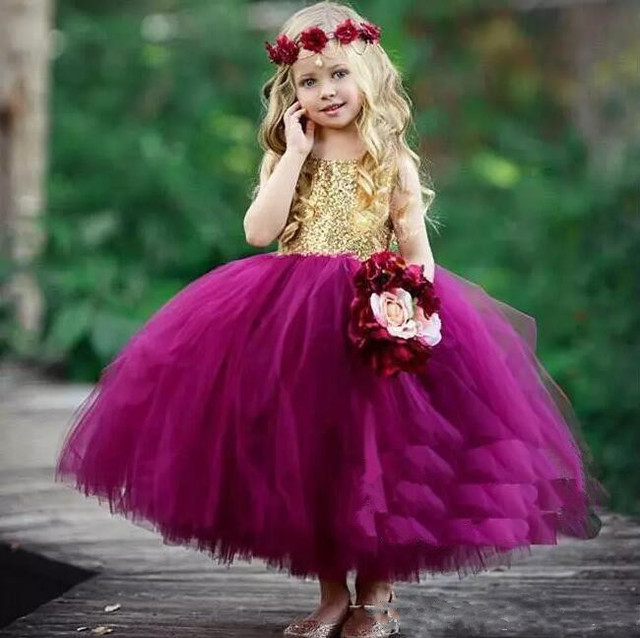 a46f39579 Cute Gold Sequins Purple Fluffy Tulle Girls Birthday Party Gown Jewel  Neckline Open Back 2018 Flower Girls Dresses Any Size