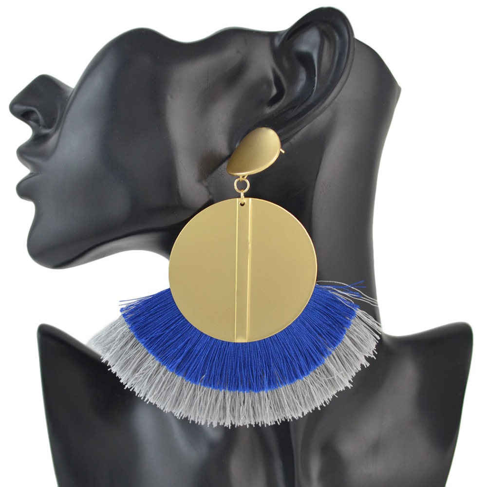 3 Colors Large Fashion Gold Metal Statement Drop Dangle Earrings Acrylic Tassel Thread Long Earrings for Women Bridal Jewelry