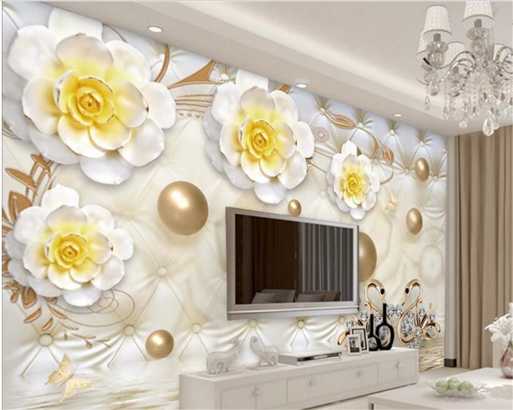 Beibehang Advanced Aesthetic Papel De Parede 3D Wallpaper Emas Mewah Bunga Pola Lembut Tas Bola Perhiasan