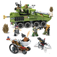 438pcs Military Educational model Building Blocks Toys For Children legoiNGs Army Car tank Chariot Weapon technic Boy Gifts